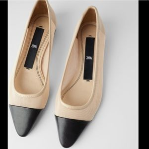 ZARA NUDE MESH BALLET FLATS WITH POINTED TOE